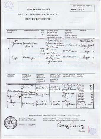 James Goward Death Certificate