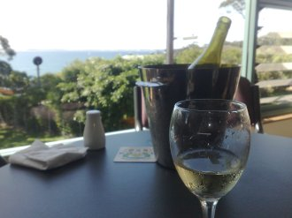 Enjoying a bottle of wine and admiring the view from Bundeena RSL.