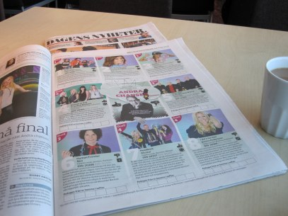 Melodifestivalen in the newspaper today