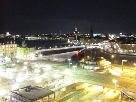 Stockholm at night, viewed from Katarinahissen