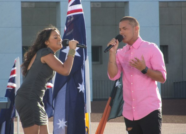 Jessica Mauboy and Stan Walker perform Waltzing Matilda