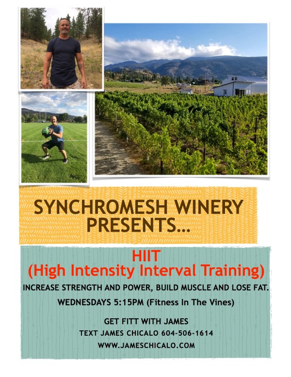 A poster advertising high intensity interval classes in Okanagan Falls, British Columbia