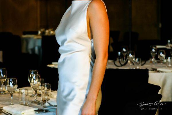 JCCI-100107 - Elegant woman in silky white minimalistic wedding dress