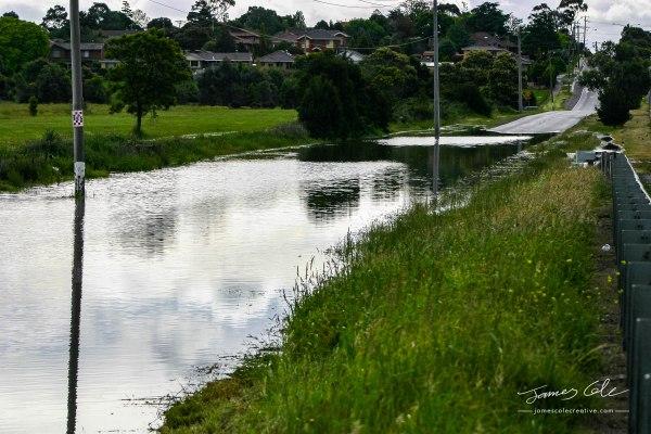 JCCI-100150 - Calm flood waters across Heatherton Road highway in Dandenong