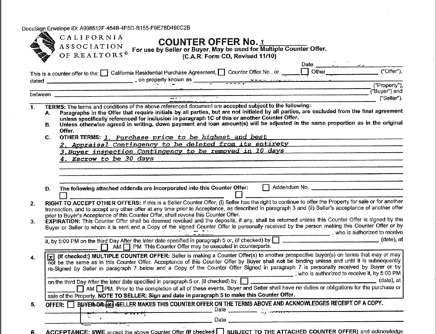 Offer Letter Real Estate Purchase Sample