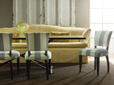 Lee Industries Upholstered Chairs and Bench with Dining Table