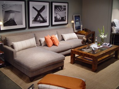 Smaller sized sectional from Michael Weiss for Vanguard is a great place to curl up and watch TV.