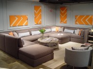 This abundantly sized sectional sofa from Michael Weiss for Vanguard can anchor the most contemporary of media rooms.