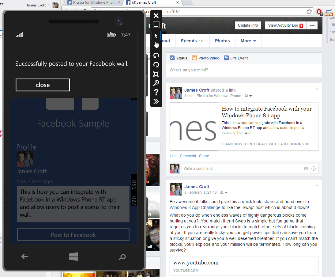 How to: Integrate Facebook Graph API in your universal Windows Phone app