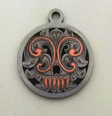 Engraving and Copper Inlay on Steel Pendant