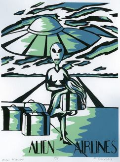 Student - Amy Gonzales, Theme: Aliens and 50's Advertising, Screenprint,