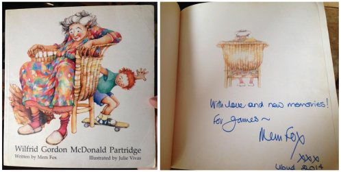 my childhood copy of Wilfred, signed by Mem