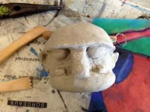 paper clay head (with newspaper centre to keep it light)