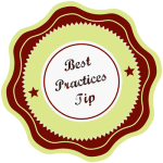 Best Practices Tip badge, as seen in the WordPress Basics videos