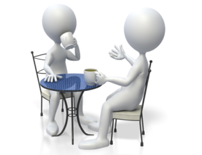 Cartoon image of two people drinking coffee at a table talking together