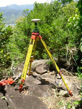 GPS tripod at the summit of Cabrits.