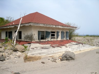 A house buried by lahar deposits.
