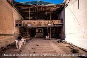 The Abandoned Palace Theater in Anson, Texas - From The Screen Looking Back at the Lobby Roof