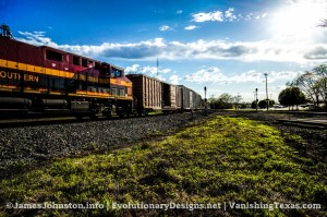 Kansas City Southern Evening Train Passing Through Greenville, Texas