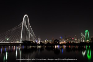 The Swollen Trinity River at the Margaret Hunt Hill Bridge Shot at Night