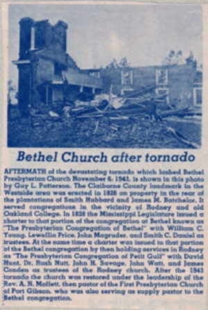 Bethel Presbyterian Church near Port Gibson, Mississppi after the tornado