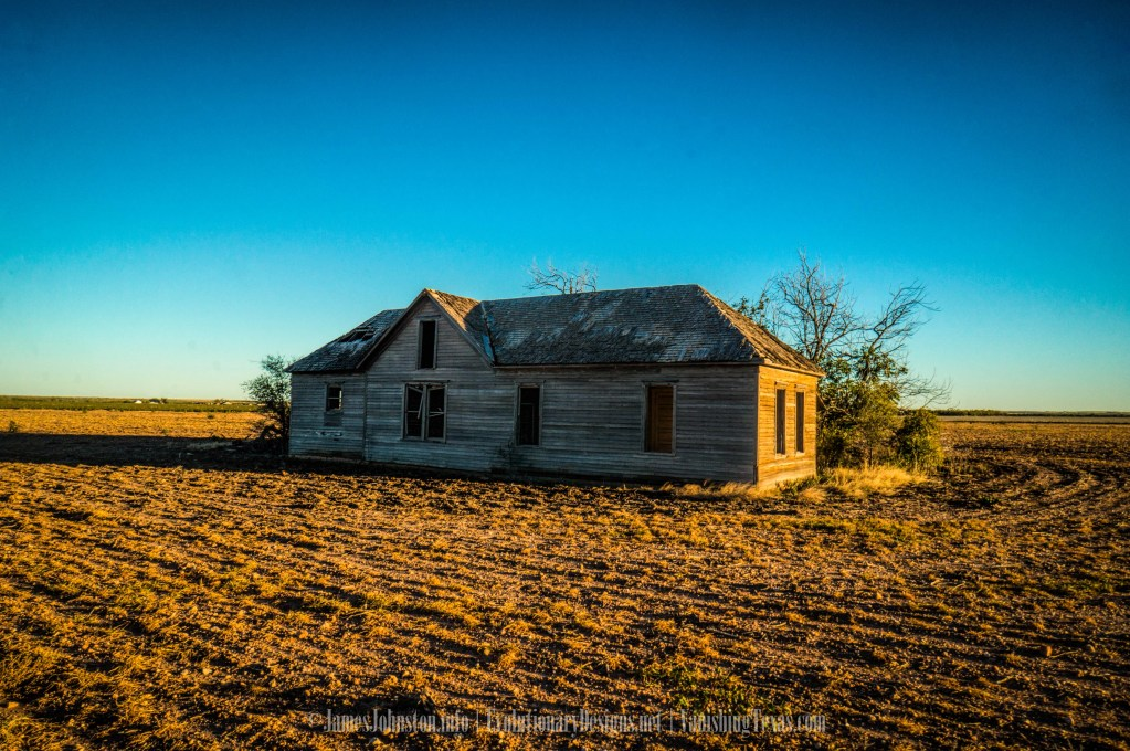 Abandoned West Texas Farm House Sitting in a Recently Plowed Field