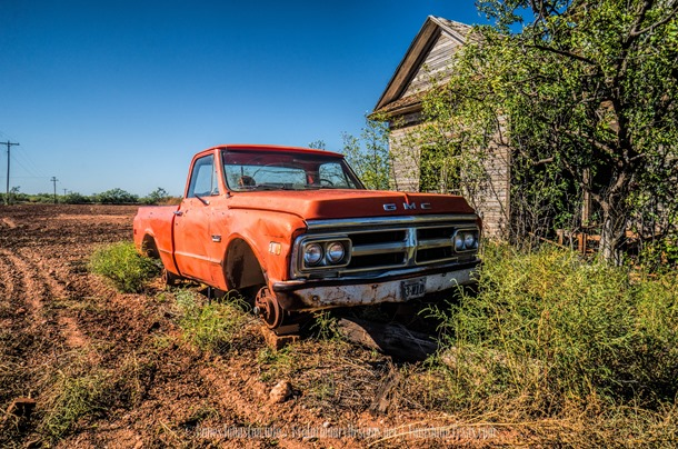 Abandoned Farm House and Truck on Blocks