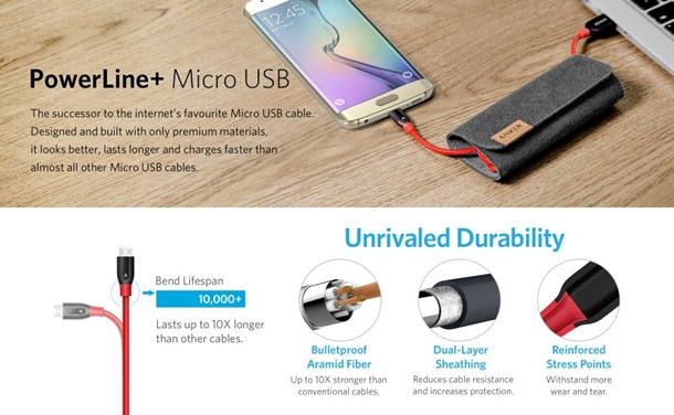 Anker PowerLine+ Micro USB Premium Durable Double Braided Nylon Cable