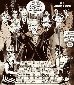 Jacob Sailor's 1980 illustration showing Satan's control of the political world.