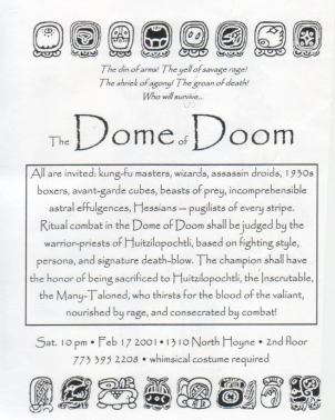 Aztec Dome of Doom - Invitation text