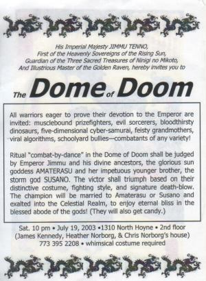 Japanese Dome of Doom - Invitation text