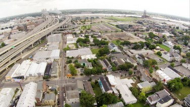Looking South towards the river and the Convention Center in the Lower Garden District.