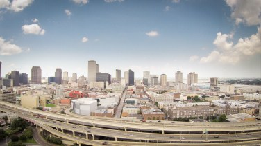 The New Orleans skyline from the Lower Garden District.