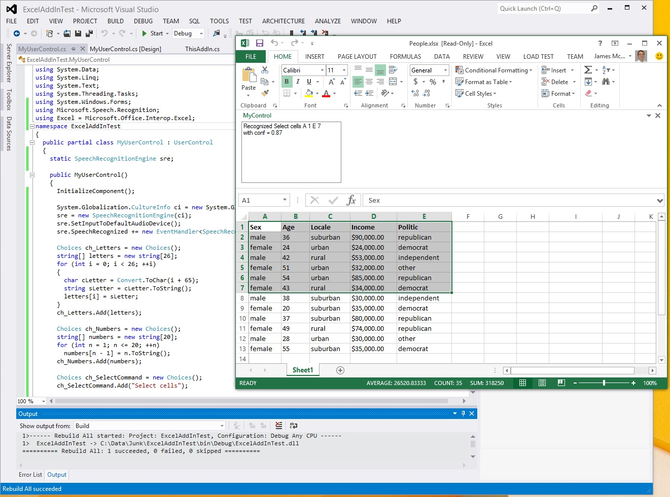 Selecting Excel Cells Using Interop And Speech Recognition