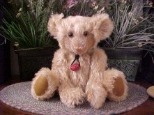 "Sig- 12"" Mohair Bear with Tibetan Prayer Bead Pendant"