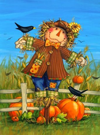 Scarecrow with Pumpkins and Crows at the Fence
