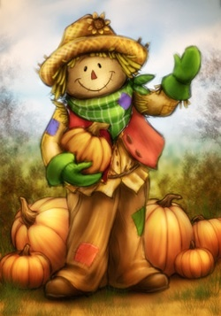 Country Scarecrow with Pumpkins