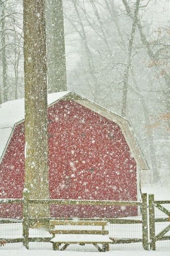 Red Barn with Big Snowflakes- by mizzginnn on Flickr
