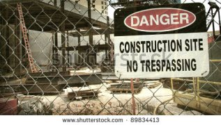 Vintage Construction Site No Trespassing Sign