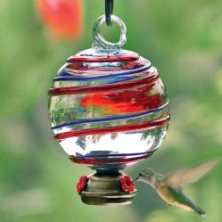 Globe Shaped Glass Hummingbird Feeder