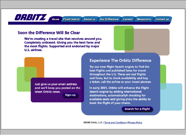 Orbitz prelaunch website