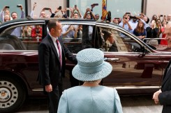 GB. England. London. The Queen visiting the Drapers' Livery Hall for The Drapers' Company 650th Anniversary. City of London. 2014.