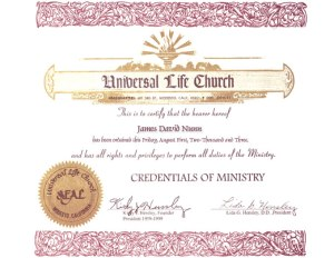 ULC Ordination Certificate