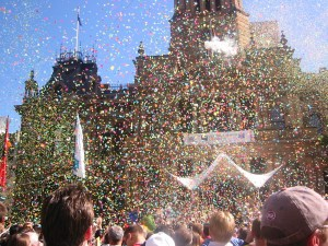 Ticker tape parade at Town Hall, Sydney