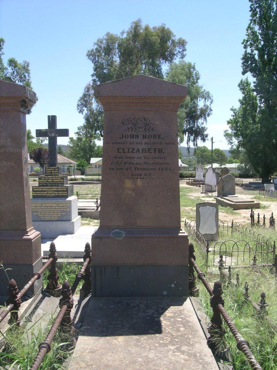 Born Elizabeth Waite, she married John Hoare at All Saints Church, Sutton Forest on January 1, 1839. She died at Ellerslie, East St Kilda, Melbourne on February 6, 1895.
