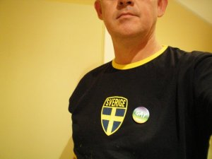 Swedish T-Shirt and Estonian Gay Badge