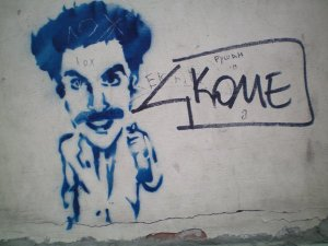 Borat graffiti in Riga
