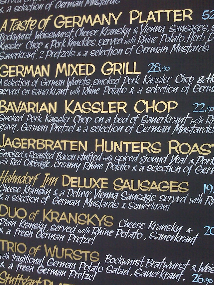 Menu from German pub in Hahndorf