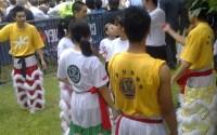 Lion dancers prepare