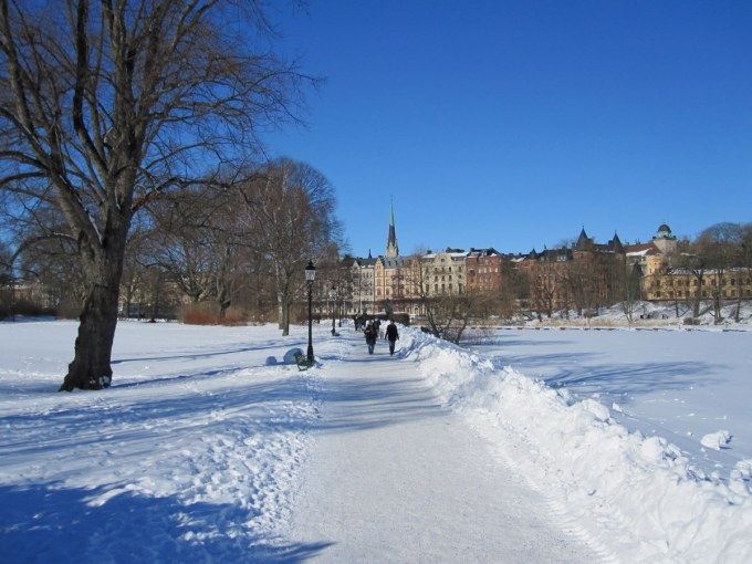 The river on the right, the path and the gardens of Djurgarden